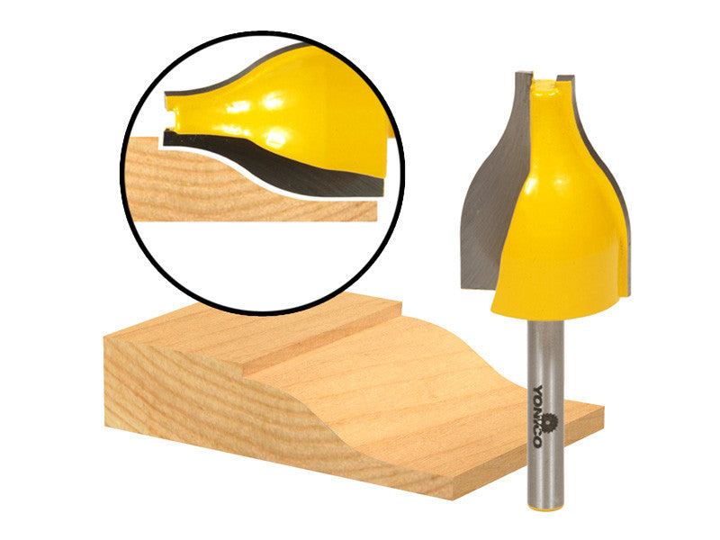 "Raised Panel Vertical Router Bit - Medium Ogee - 1/4"" Shank - Yonico 12147q"
