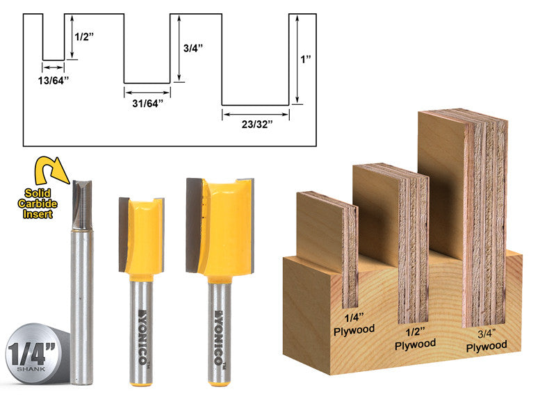 "3 Bit Undersized Dado Router Bit Set For 3/4"" 1/2"" & 1/4"" Plywood -Yonico 14323q"