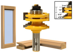 "1 Pc. Glass Door Rail & Stile Reversible Router Bit - 1/2"" Shank - Yonico 12122"