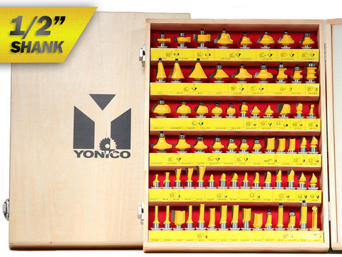 "70 Bits Professional Quality Router Bit Set Carbide - 1/2"" Shank - Yonico 17702"
