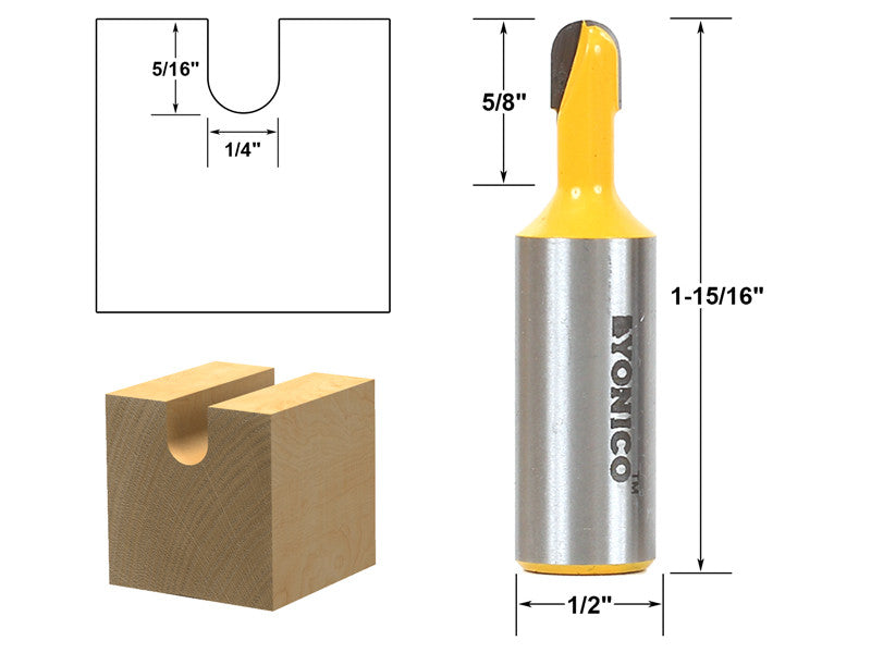 "Core Box / Round Nose Router Bit - 1/4""W X 5/16""H  - 1/2"" Shank - Yonico 14161"