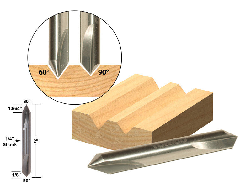 "60°/90° V-Groove Double Ended Solid Carbide Router Bit 1/4"" Shank Yonico 14103q"