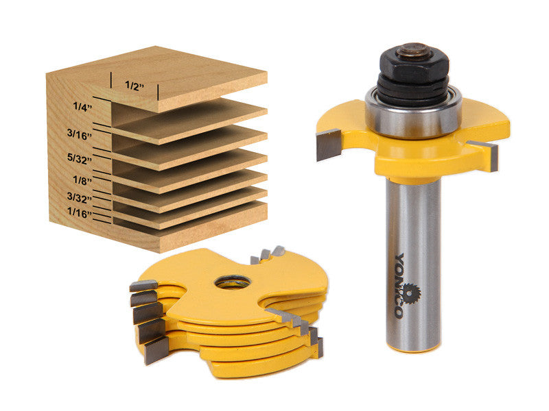 "6 Piece Slot Cutter 3 Wing Router Bit Set - 1/2"" & 1/4"" Shank -Yonico 14700"