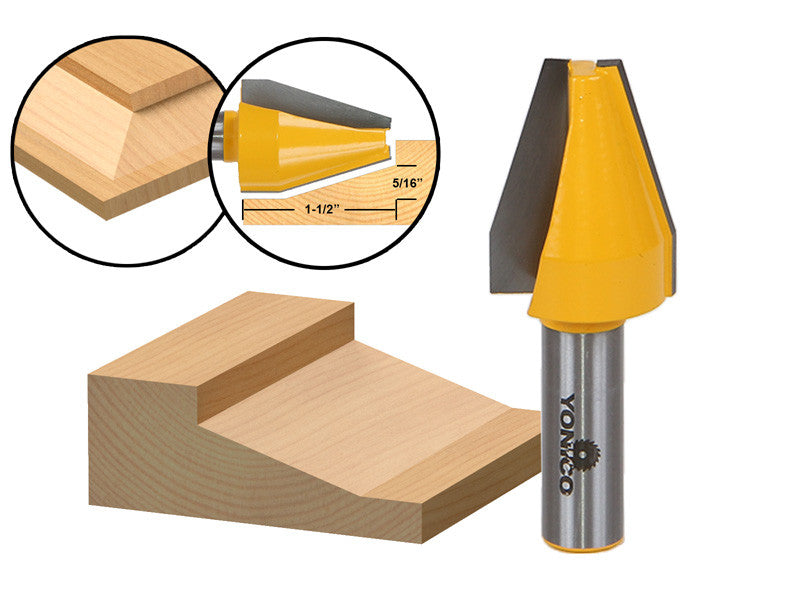 "Panel Raiser Router Bit - Vertical - Bevel Design - 1/2"" Shank - Yonico 12144"