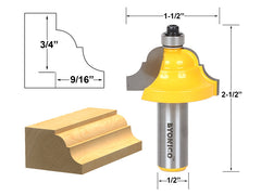 "Double Roman Ogee Edging Router Bit - Large - 1/2"" Shank - Yonico 13124"