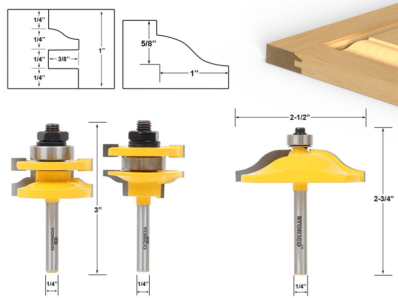 "Raised Panel Cabinet Door Router Bit Set - 3 Bit Ogee - 1/4"" Shank-Yonico 12338q"