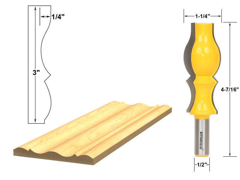 "Large Reversible Crown Molding Router Bit - 1/2"" Shank - Yonico 16151"