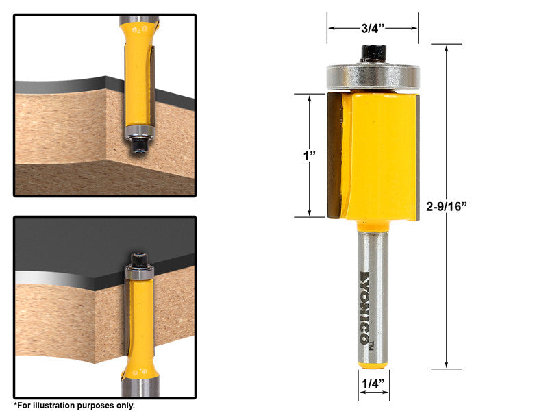 "Flush Trim Router Bit End Bearing - 3/4""W X 1""H - 1/4"" Shank - Yonico 14148q"