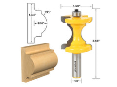 Large Bullnose & Bead Router Bit Column Face & Chair Rail Molding - Yonico 13100