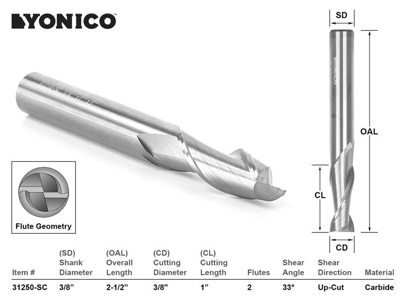"CNC Router Bit Up Cut Solid Carbide 3/8"" X 1"" X 3/8"" X 2-1/2"" - YONICO 31250-SC"