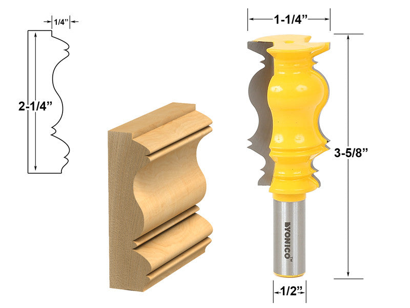 "Crown Molding Router Bit - 1/2"" Shank - Yonico 16153"