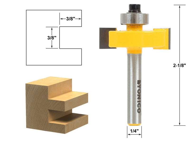 "3/8"" Slot Slotting & Rabbeting Router Bit - 1/4"" Shank - Yonico 14186q"