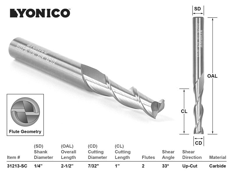 "CNC Router Bit Up Cut Solid Carbide 7/32"" X 1"" X 1/4"" X 2-1/2"" - YONICO 31213-SC"