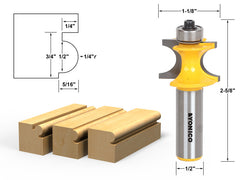 "Bullnose Beading Router Bit 1/4""r - 1/2"" bead - 1/2"" Shank - Yonico 13193"