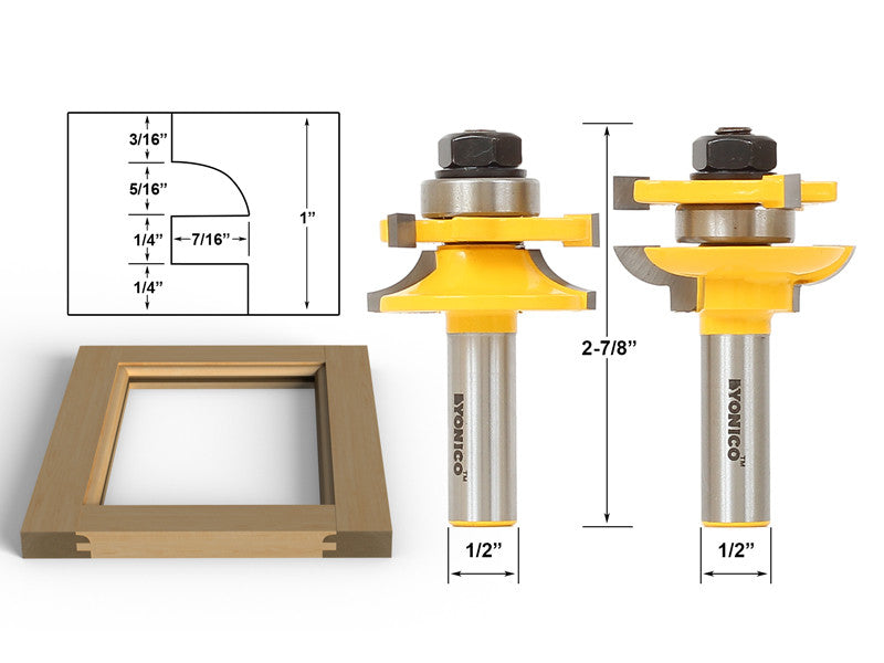Rail & Stile Router Bits -Matched 2 Bit Quarter-round -  12238