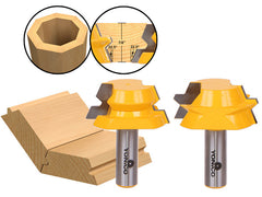 "22.5 Degree Lock Miter Glue Joint Router Bit Set - 1/2"" Shank - Yonico 15220"