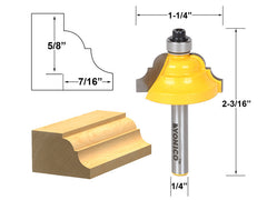 "Double Roman Ogee Edging Router Bit - Medium - 1/4"" Shank - Yonico 13123q"