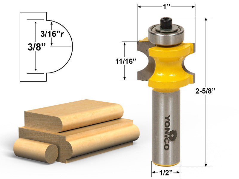 "Bullnose Router Bit 3/16""r - 3/8"" Bead - 1/2"" Shank - Yonico 13114"