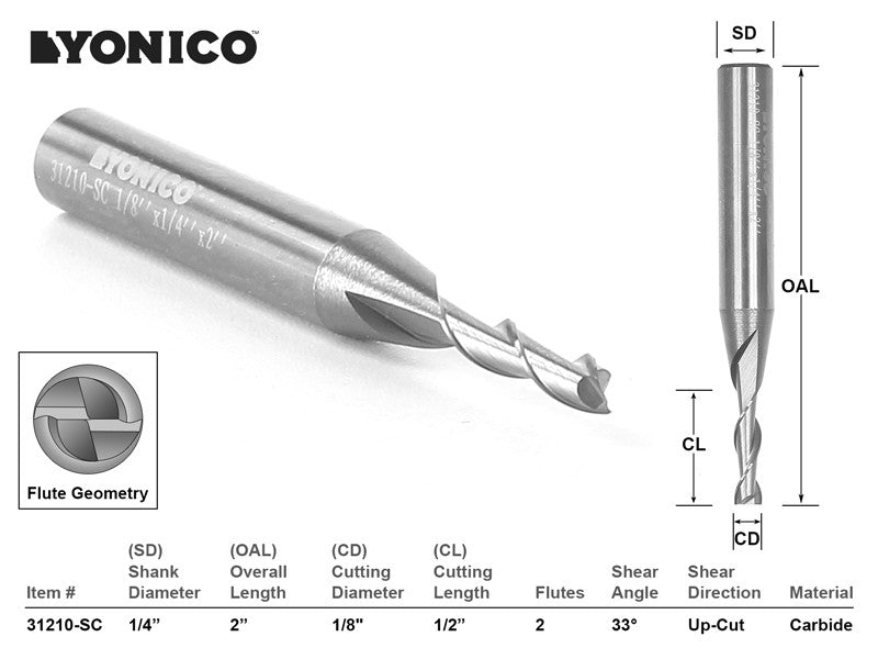 "CNC Router Bit Up Cut Solid Carbide 1/8"" X 1/2"" X 1/4"" X 2"" - YONICO 31210-SC"