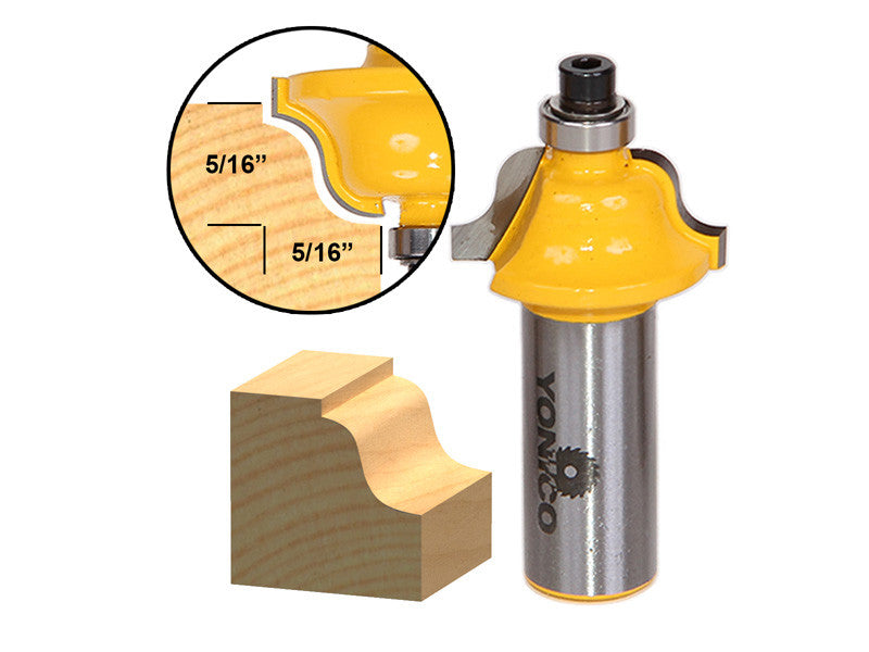 "Roman Ogee Edging and Molding Router Bit - Small - 1/2"" Shank - Yonico 13182"