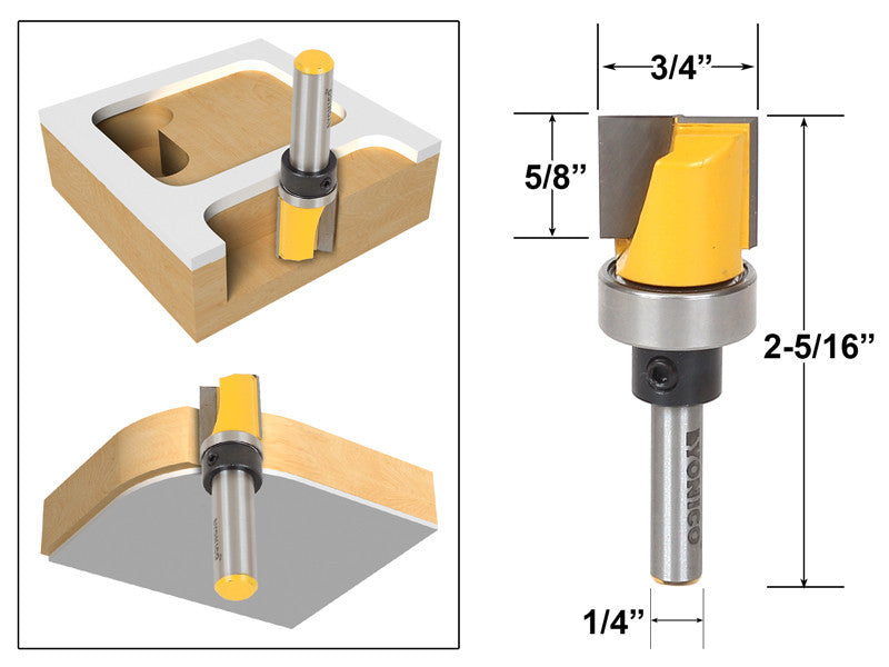 "Template Trim Router Bit - Bottom Cleaning - 1/4"" Shank - Yonico 14172q"