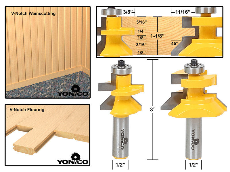 Matched Tongue Groove V Notch Router Bit Set 15227 Yonico