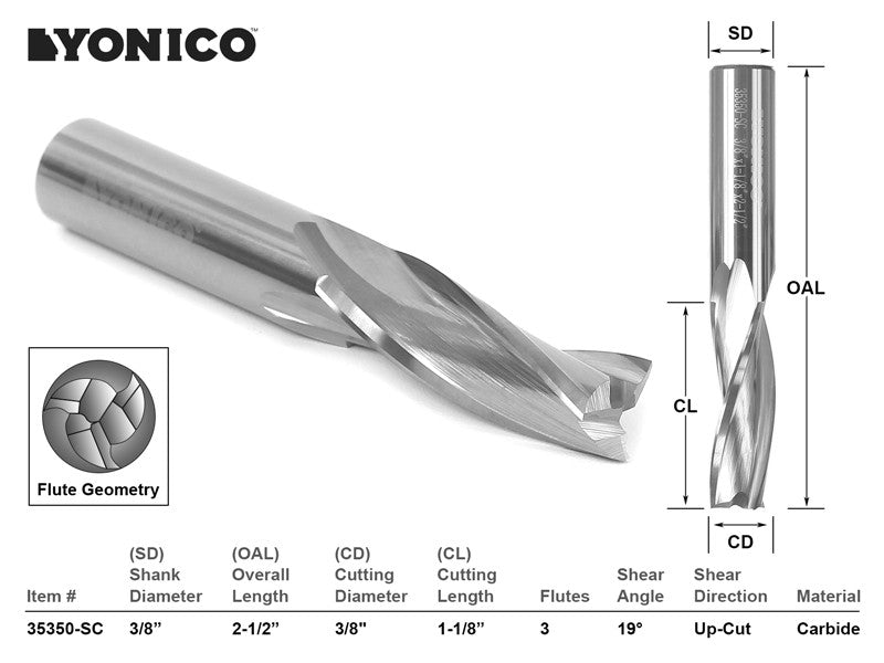"CNC Router Bit Low Helix Up Cut 3 Flute 3/8"" Dia. X 1-1/8""- Yonico 35350-SC"