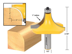 "Round Over Edging Router Bit - 1"" Radius - 1/2"" Shank - Yonico 13169"