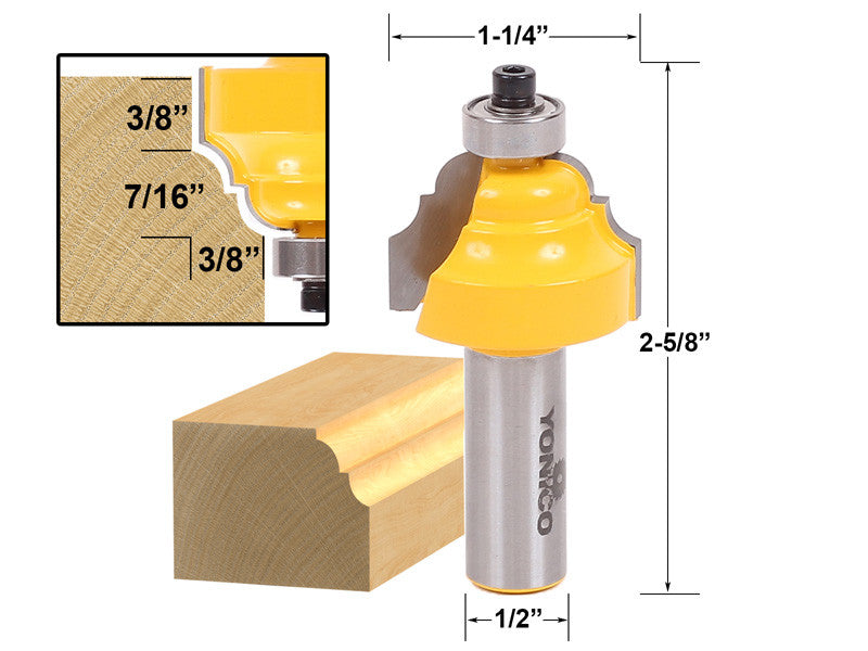 "Classical Double Roman Ogee Edging Router Bit - 1/2"" Shank - Yonico 13126"