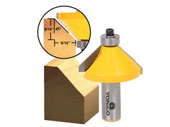 "45° Chamfer/Bevel Edging Router Bit - Extra Large - 1/2"" Shank - Yonico 13107"
