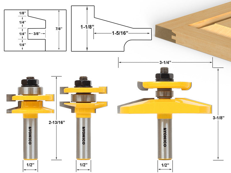 "3 Bit Raised Panel Cabinet Door Router Bit Set- Bevel- 1/2"" Shank -Yonico 12350"