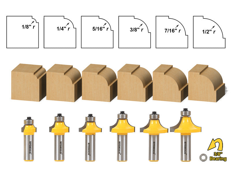 6 bit Roundover and Beading Router Bit Set - Yonico 13621
