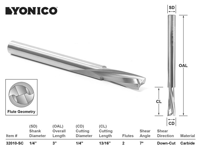 "CNC Router Bit Low Helix Down Cut Long Reach 1/4"" X 13/16""  - YONICO 32010-SC"