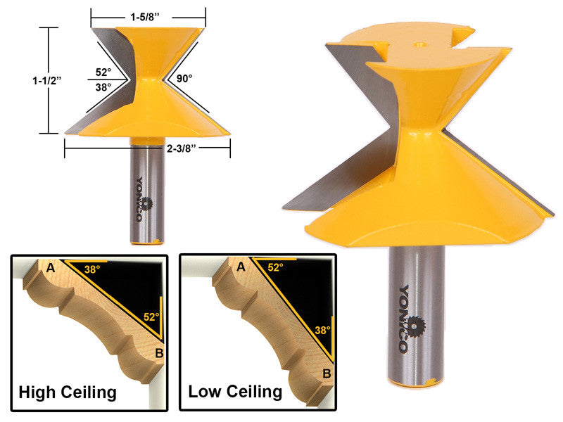 "52°/38° Crown Molding Router Bit - 1/2"" Shank - Yonico 16143"