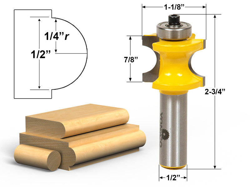 "Bullnose Router Bit 1/4""r - 1/2"" Bead - 1/2"" Shank - Yonico 13115"