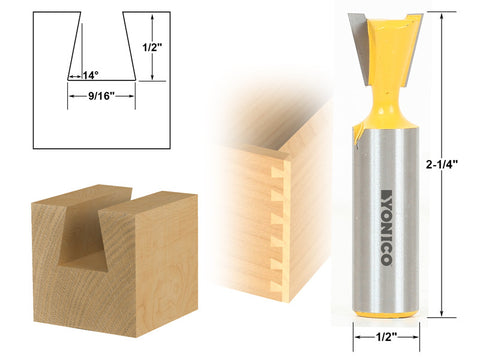 "14° 9/16"" Dovetail Joint Router Bit - 1/2"" Shank - Yonico 14112"