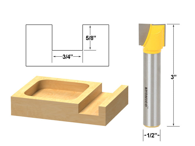 "Bottom Cleaning Dado Router Bit 3/4"" W X 5/8"" H - 1/2"" Shank - Yonico 14971"