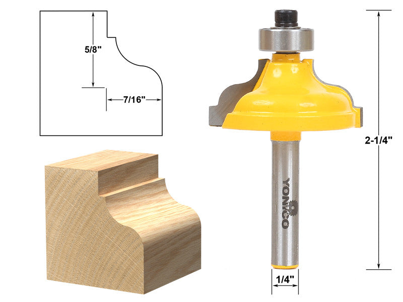 "Ogee Flute Edging and Molding Router Bit - Large - 1/4"" Shank - Yonico 13180q"