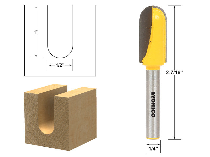 "Core Box Router Bit - Long Reach - 1/2""W X 1""H - 1/4"" Shank - Yonico 14163q"