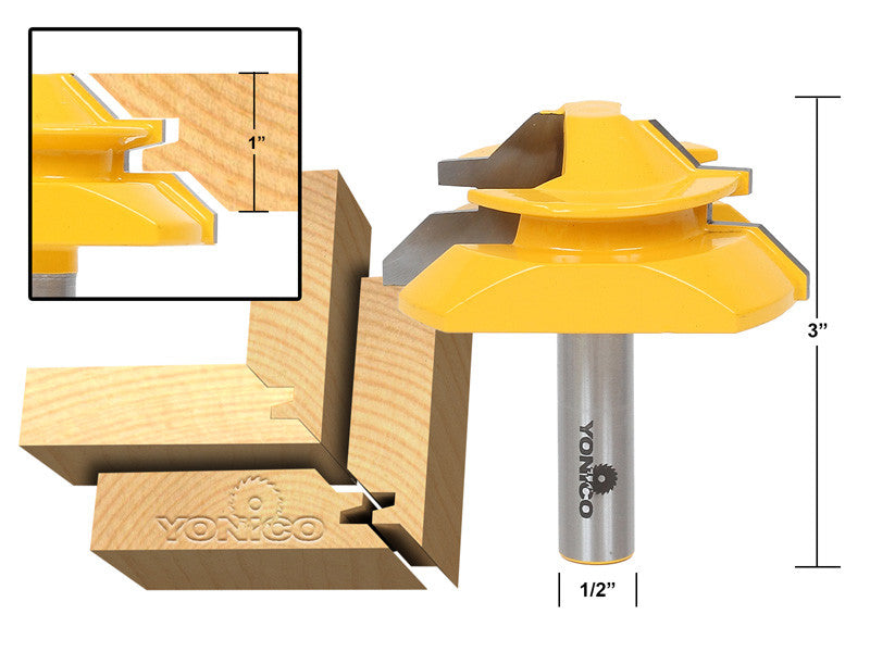"Large Lock Miter Router Bit - 45 Degree - 1"" Stock - 1/2"" Shank - Yonico 15122"