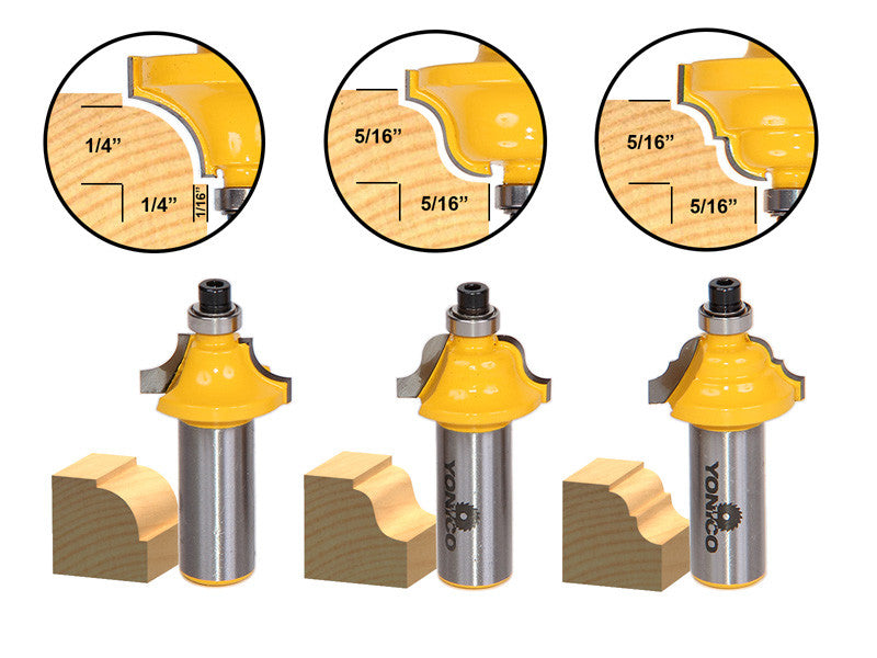 "3 Bit Edging Molding Router Bit Set - Small Designer - 1/2"" Shank -Yonico 13320"