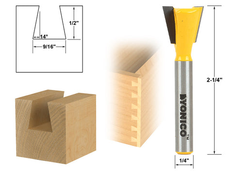 "14° 9/16"" Dovetail Joint Router Bit - 1/4"" Shank - Yonico 14112q"