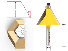 "30° Chamfer & Bevel Edging Router Bit - 1/4"" Shank - Yonico 13905q"