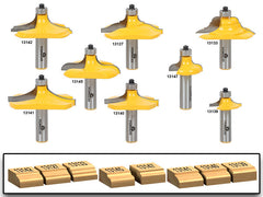 "8 Bit Table Edge/Hand Rail Molding Router Bit Set - 1/2"" Shank - Yonico 13829"