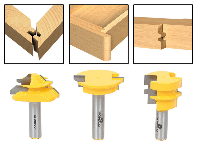 3Pc. Jointing Router Bit Set -Lock Miter, Glue Joint, Drawer Front -Yonico 15336