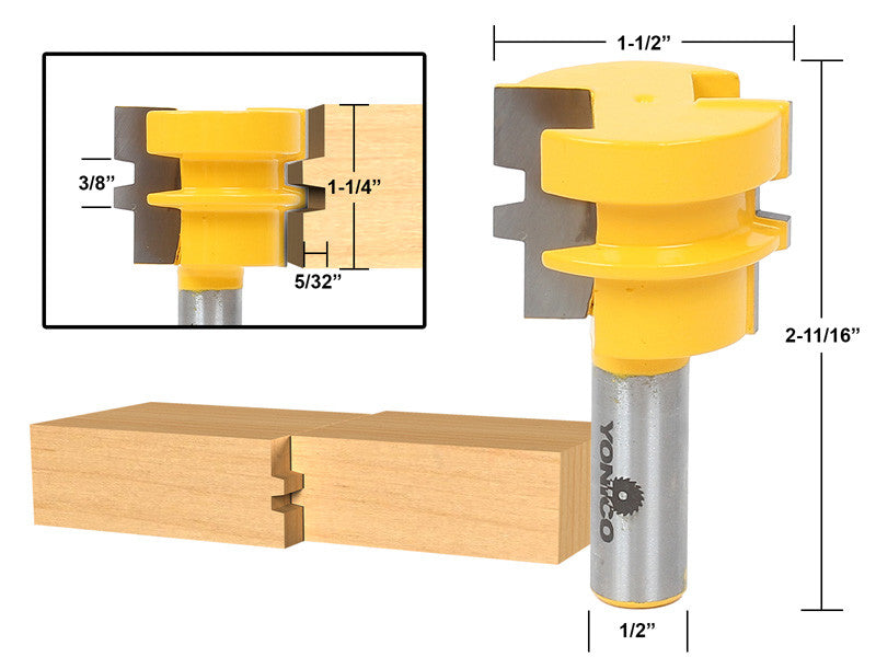 "Glue Joint Router Bit - Medium Reversible - 1/2"" Shank - Yonico 15136"