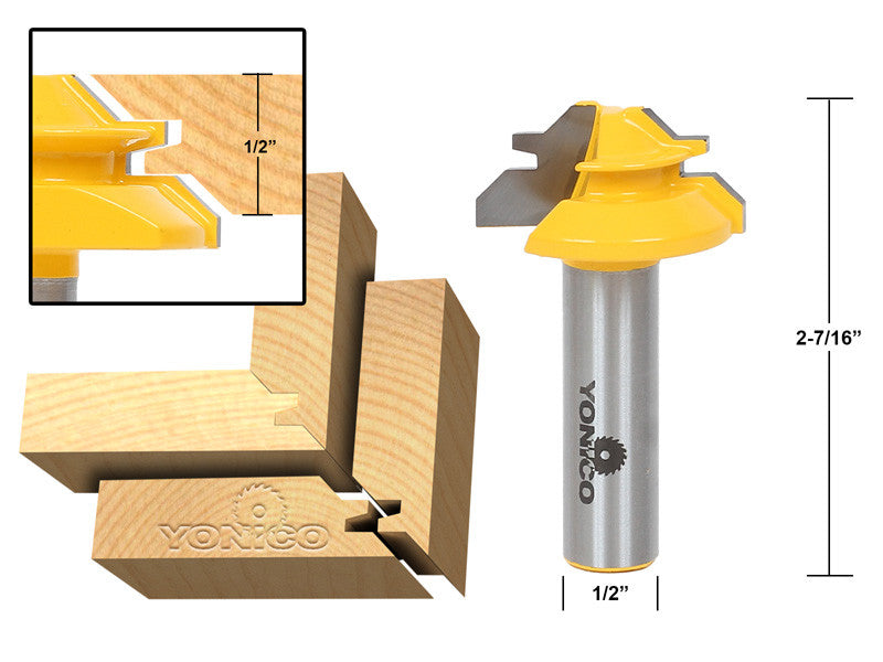 "Small Lock Miter Router Bit - 45° - 1/2"" Stock - 1/2"" Shank - Yonico 15129"