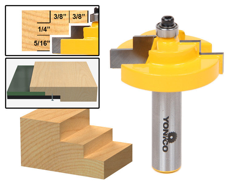 "Picture Frame Stepped Rabbet Router Bit For 1/4"" Glass - Yonico 18126"