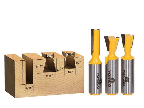 "3 Bit Dovetail Router Bit Set - 10° & 14° with 5/16"" Straight - Yonico 14318"