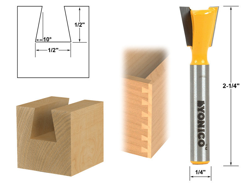 "10° 1/2"" Dovetail Joint Router Bit - 1/4"" Shank - Yonico 14111q"